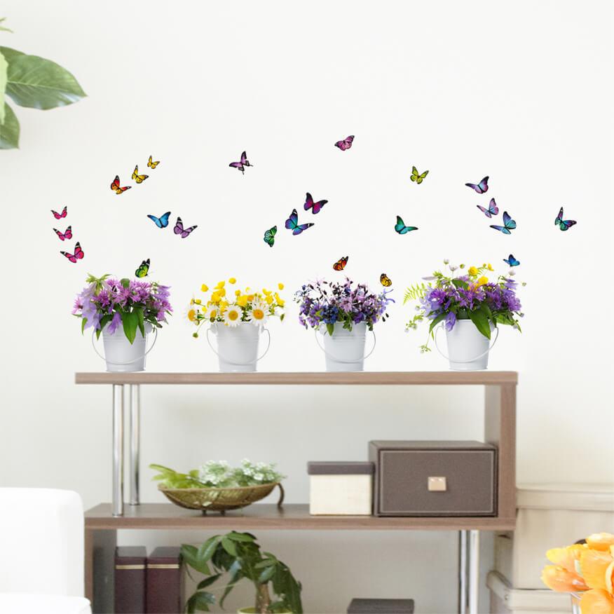 adesivi murali m - fiori colorati