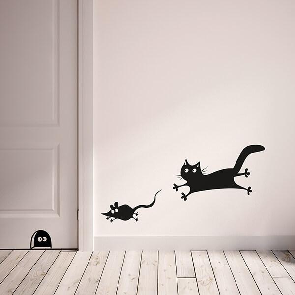 adesivi murali s - mouse and cat