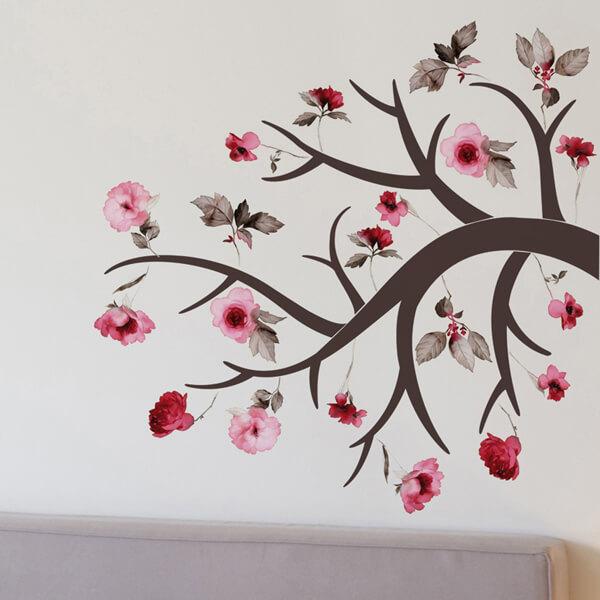 adesivi murali L - ramo fiorito