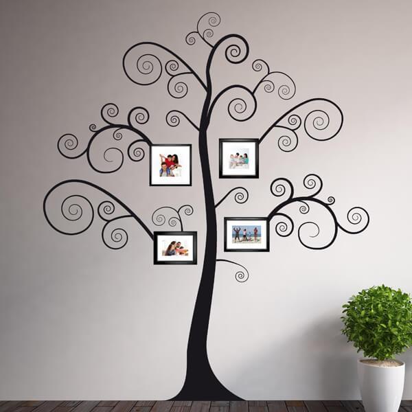 adesivi murali L - black tree