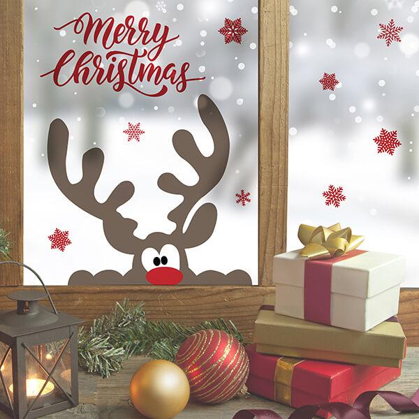 adesivo vetri e muri - Xmas reindeer 1