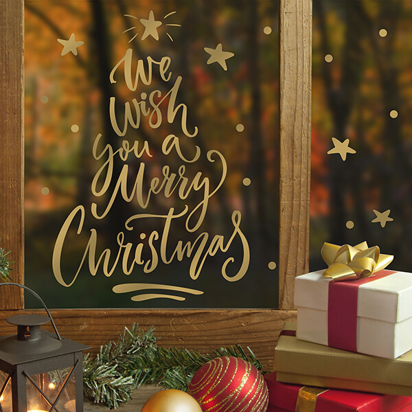adesivo vetri e muri - Merry Christmas gold 1