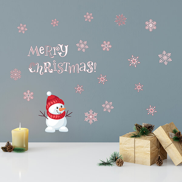 adesivo vetri e muri - snowman Merry Christmas