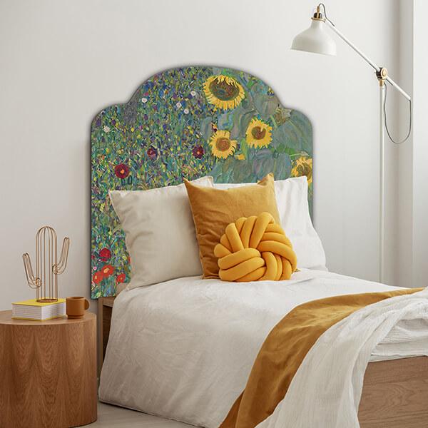 testiera letto singolo - Klimt - sunflowers