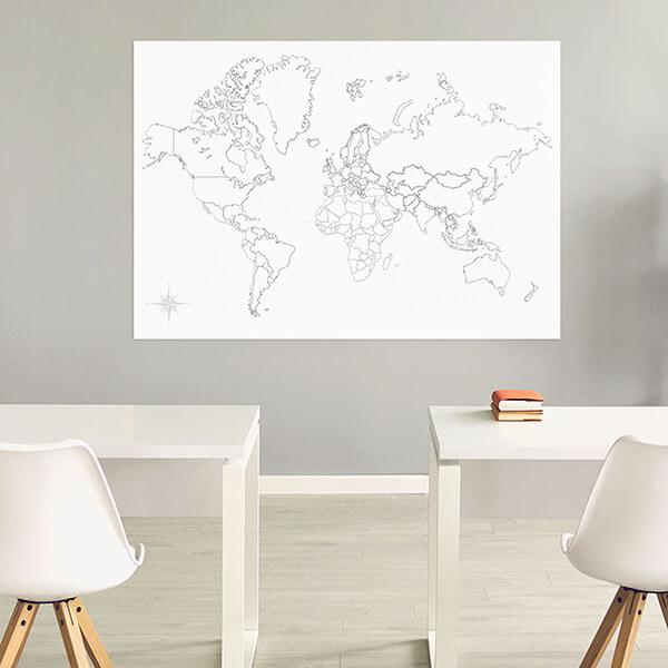 lavagna adesiva mappa mondo (b/n muta) 120x180