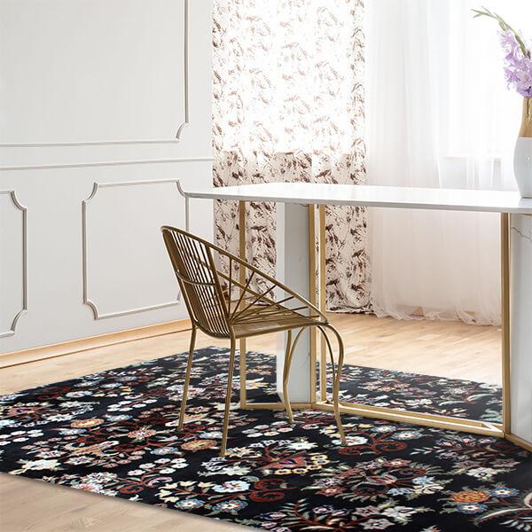 tappeto - flowers in black